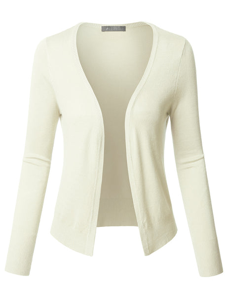 Long Sleeve Open Front Soft Ribbed Knit Cardigan