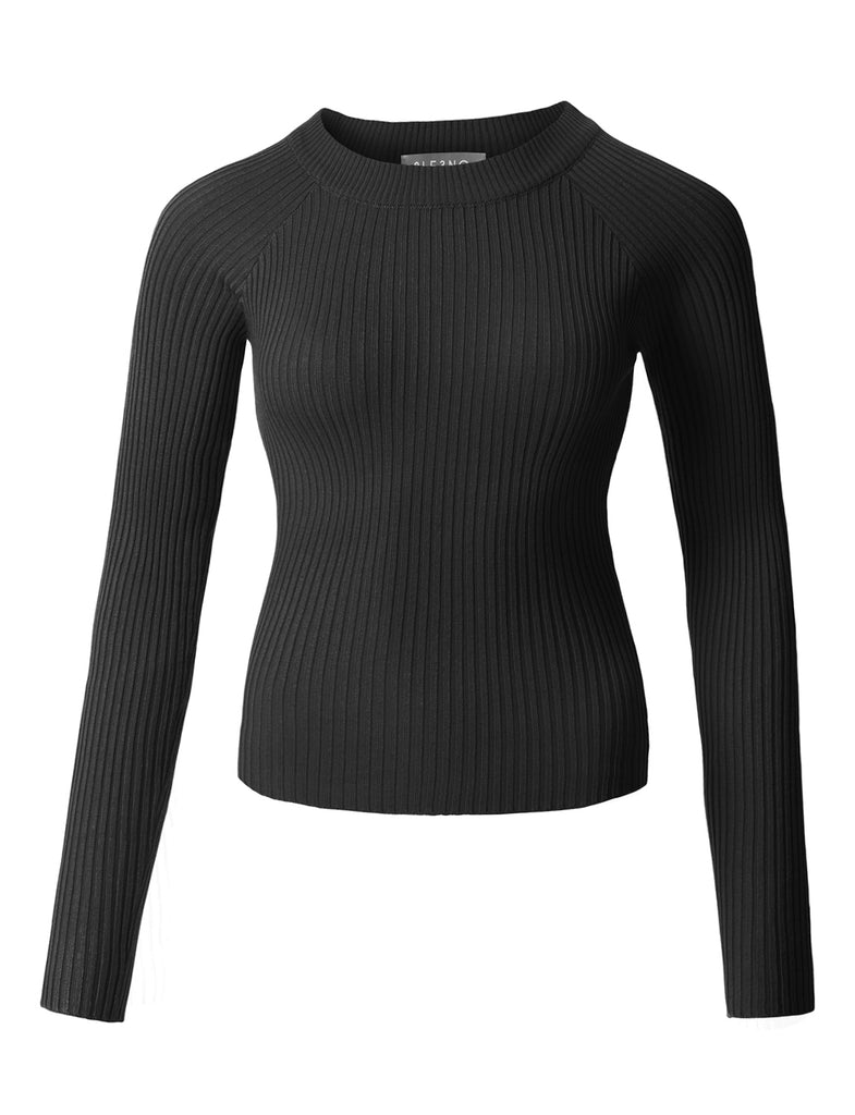 85fb8c96880 LE3NO Womens Fitted Soft Ribbed Knitted Raglan Long Sleeve Boat Neck Top ·  BLACK ...