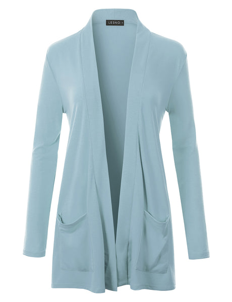 Classic Ultra Soft Long Sleeve Open Front Slouchy Pocket Cardigan