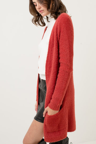 Long Open Front Soft Shaggy Knit Sweater Cardigan