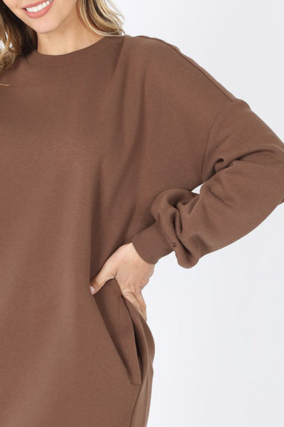 Oversized Loose Fit Round Neck Longline Pullover Sweatshirt with Pockets