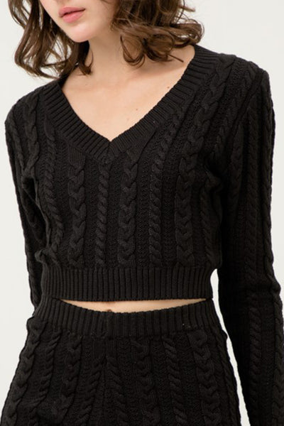 Classic Fisherman V Neck Long Sleeve Crop Sweater Top