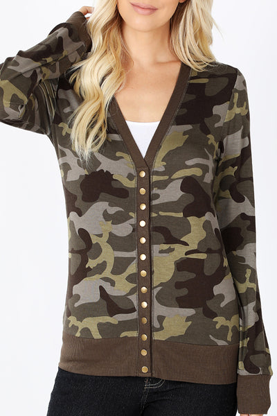 Camouflage Print Deep V Neck Snap Button Long Sleeve Knit Cardigan