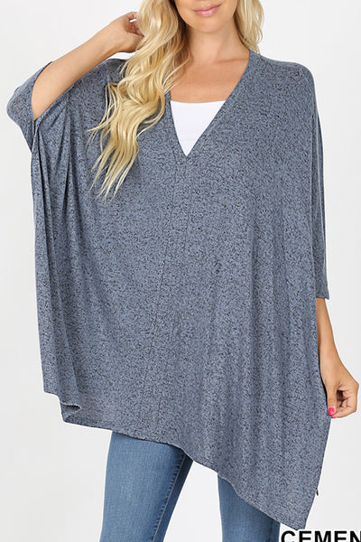 Oversize V Neck Melange Sweater Poncho Top