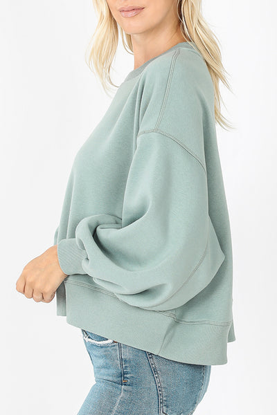 Oversized Boxy Pullover Balloon Sleeve Sweatshirt