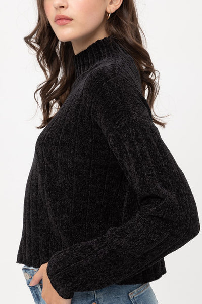 Soft Chenille Velvet Turtleneck Long Sleeve Pullover Cropped Sweater