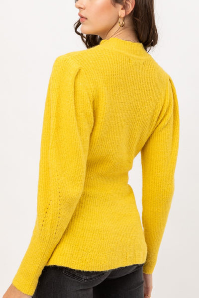 Mock Neck Knitted Pullover Long Puff Sleeve Flare Hem Sweater Top