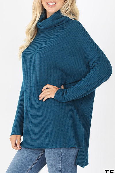 Oversized Thermal Waffle Knit Cowl Neck Hi Low Long Sleeve Sweater
