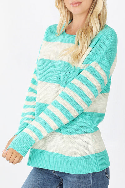Relaxed Fit Striped Long Sleeve Soft Knit Sweater