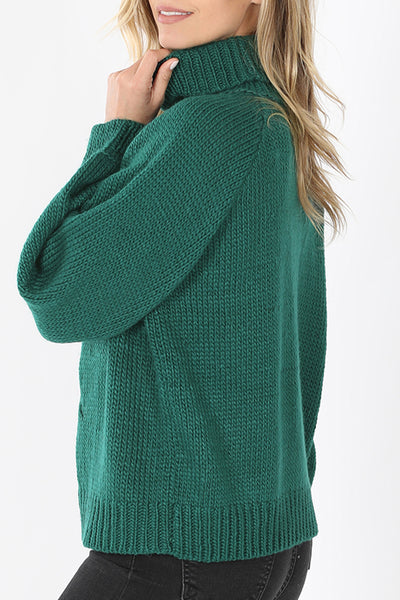 Relaxed Fit Turtleneck Chucky Cable Knit Sweater
