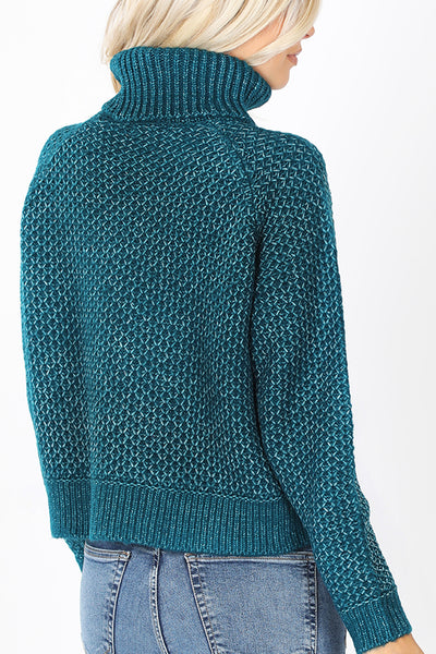 Turtleneck Long Sleeve Pullover Soft Melange Knit Sweater