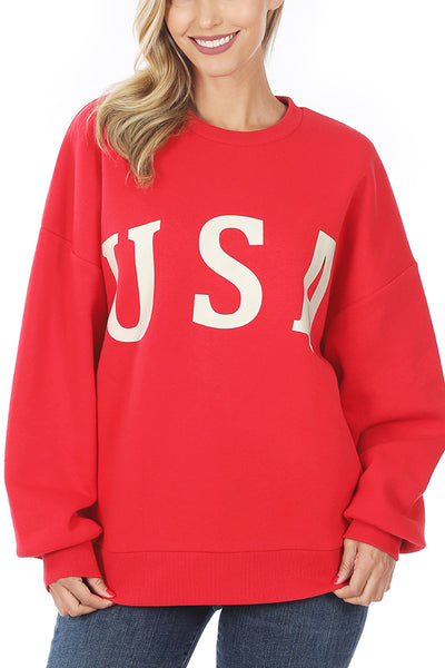 Relaxed Fit USA Printed Round Neck Pullover Sweatshirt