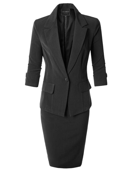 Fitted Blazer and Skirt Suit Set with Faux Leather Belt
