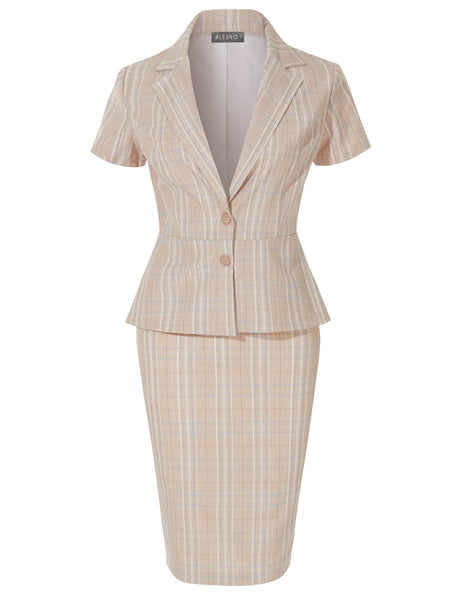 Classic Plaid Short Sleeve 2 Button Blazer and Midi Pencil Skirt Suit Set