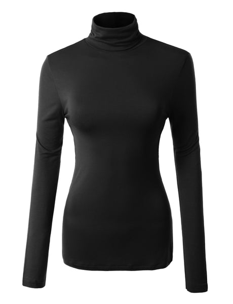 Solid Long Sleeve Turtleneck Shirt with Stretch