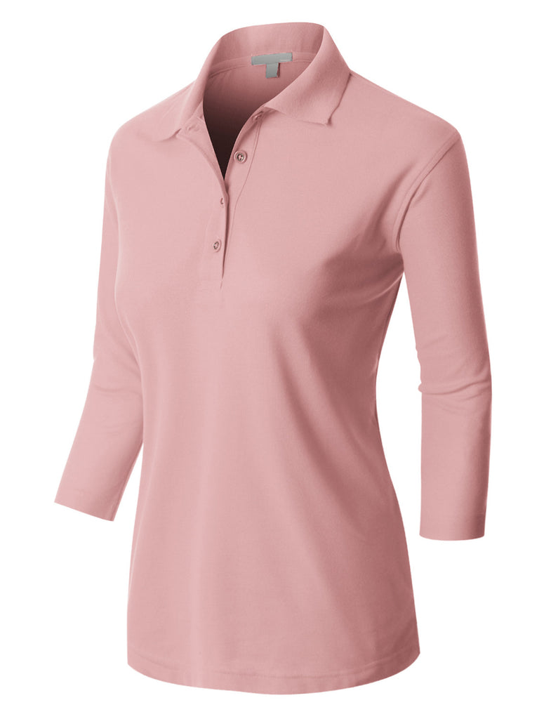 Le3no Premium Womens Active 3 4 Sleeve Polo Shirt With Stretch Le3no
