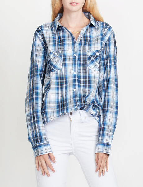 LE3NO PREMIUM Womens Lightweight Soft Cotton Long Sleeve Plaid Western Shirt