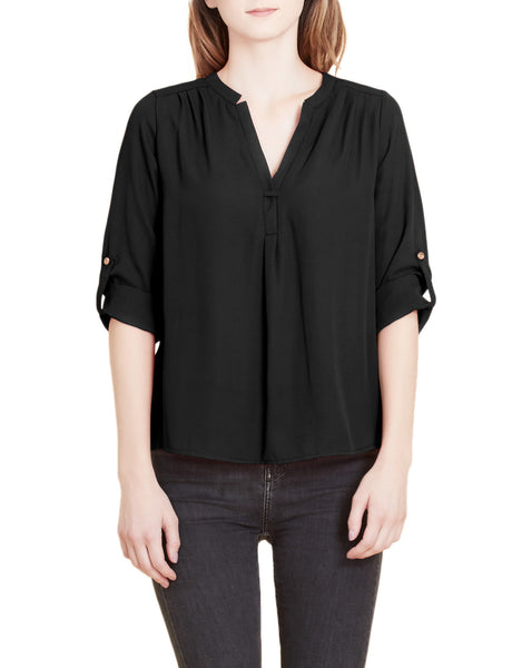 Flowy Long Sleeve Semi Sheer Chiffon Blouse Top