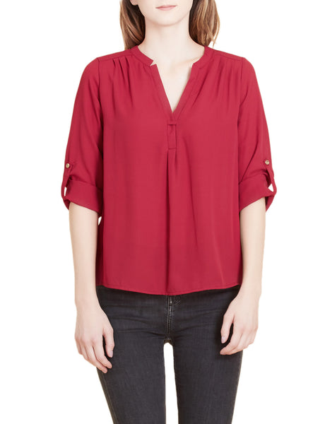 Flowy Long Sleeve Semi Sheer Chiffon Blouse Top (CLEARANCE)