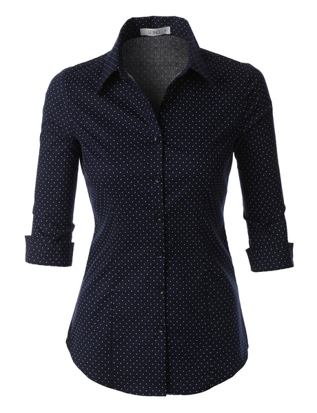 Polka Dots Button Down 3/4 Sleeve Tailored Shirt