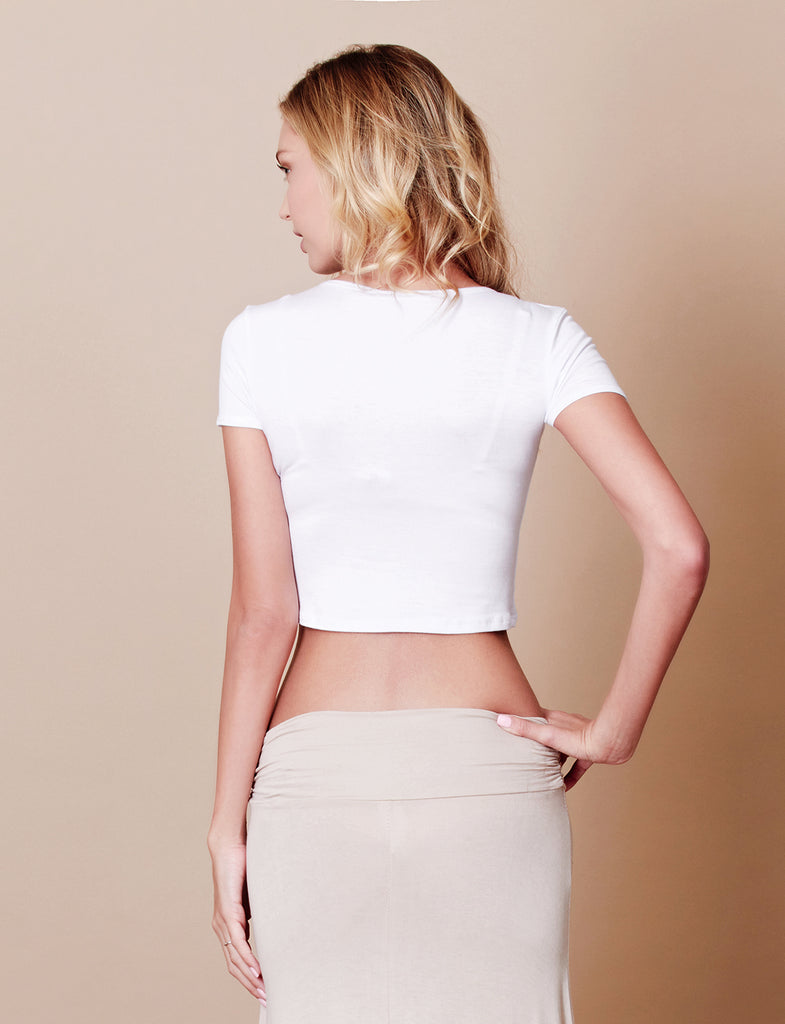 1dec3665707 Stretchy Curved Hem Short Sleeve Crop Top (CLEARANCE) | LE3NO
