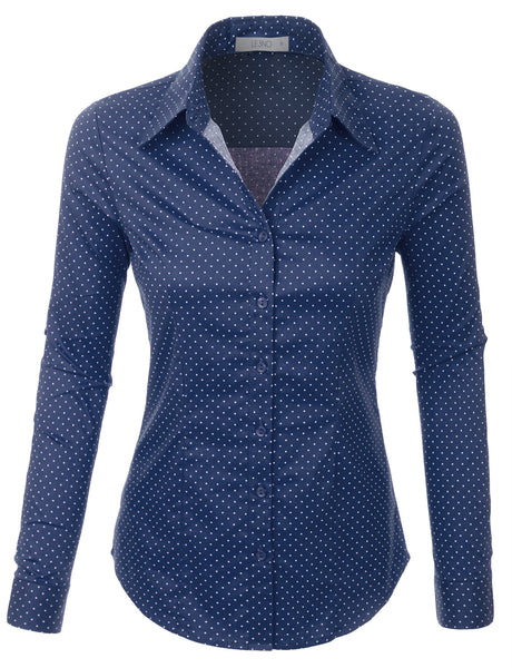 Polka Dots Button Down Long Sleeve Tailored Shirt