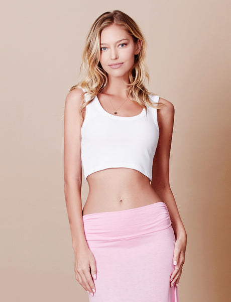 Fitted Solid Sleeveless Ribbed Crop Tank Top (CLEARANCE)