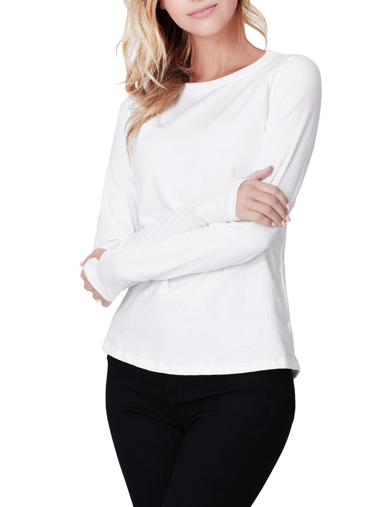 tri blend long sleeve round neck t shirt with thumb hole