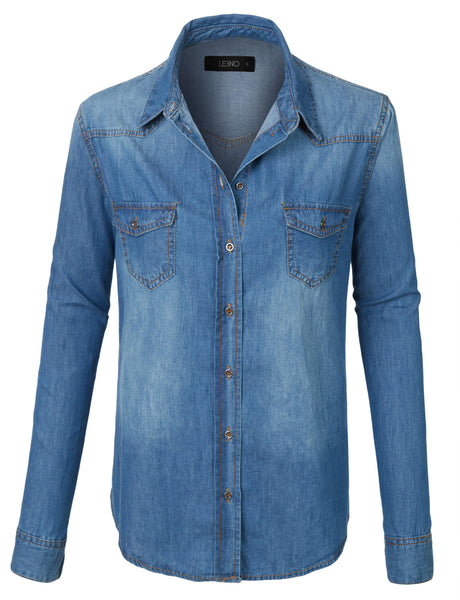 Plus Size Lightweight Long Sleeve Button Down Denim Shirt (CLEARANCE)