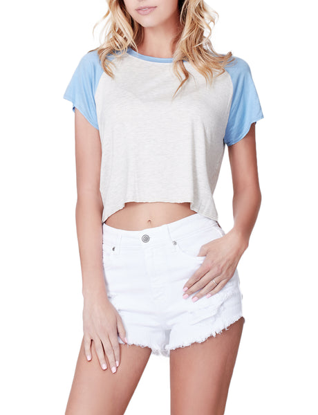 Casual Loose Fit Raglan Short Sleeve Crop Top