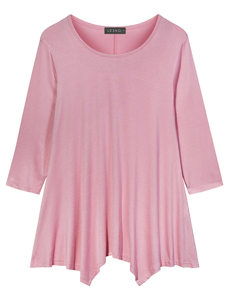 Loose Fit 3/4 Sleeve Asymmetric Hem Flared Tunic Top