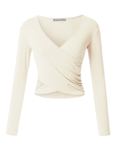 Fitted Wrap V Neck Long Sleeve Crop Top with Stretch