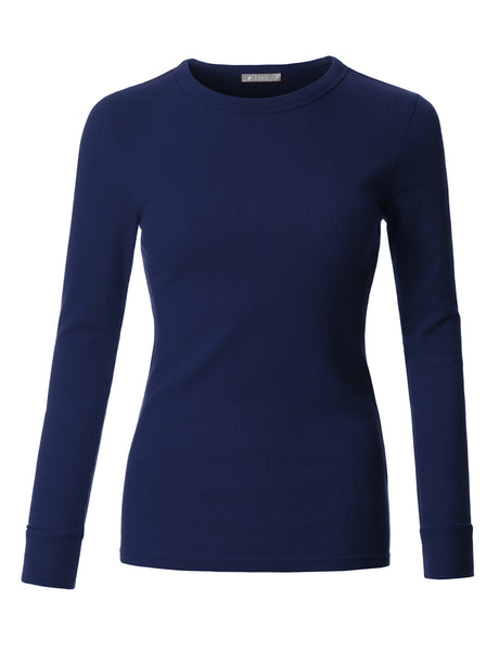 Fitted Long Sleeve Round Neck Ribbed Knit Thermal Shirt