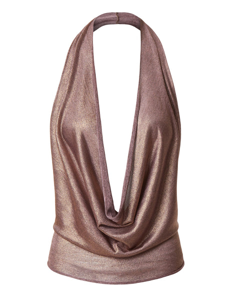 Lightweight Shiny Metallic Sexy Low Cut Halter Top with Stretch