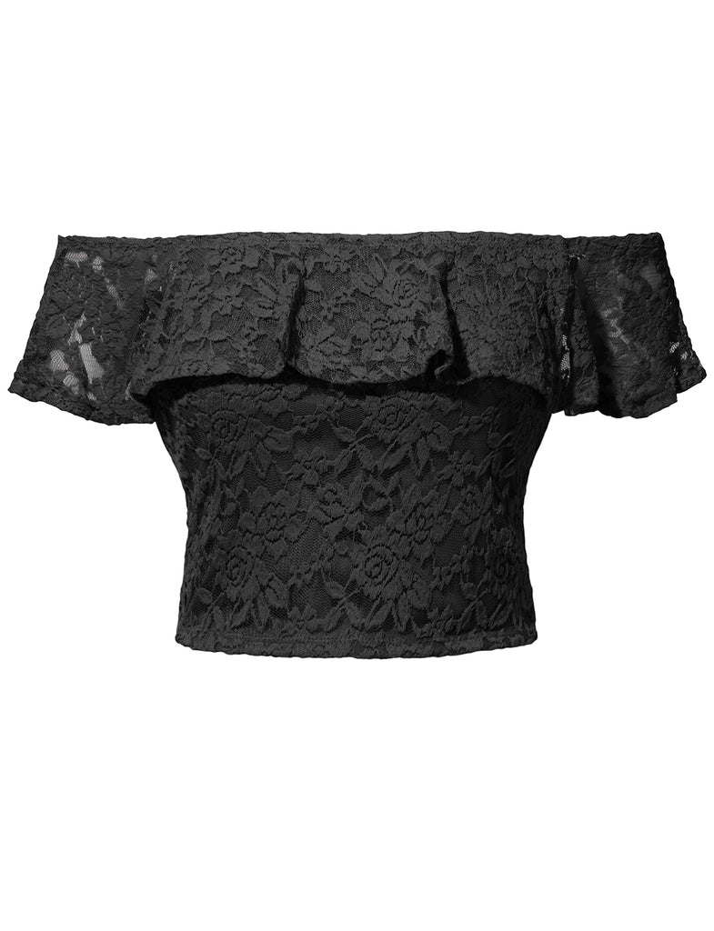 ebb4a335e0c541 LE3NO Womens Stretchy Floral Lace Ruffled Sexy Off Shoulder Crop Top ·  BLACK ...