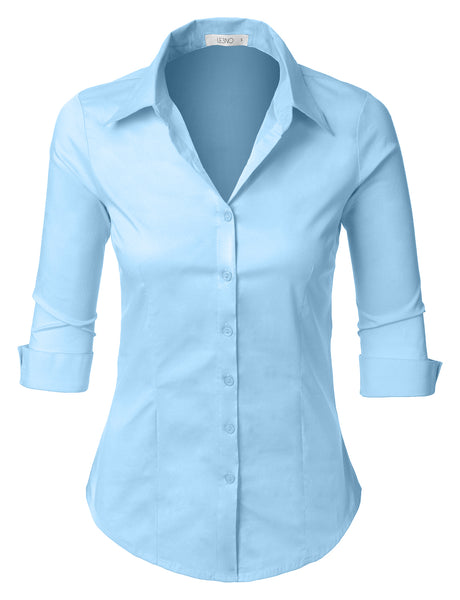 LE3NO Womens Plus Size Easy Care Roll Up 3/4 Sleeve Button Down Shirt with Stretch