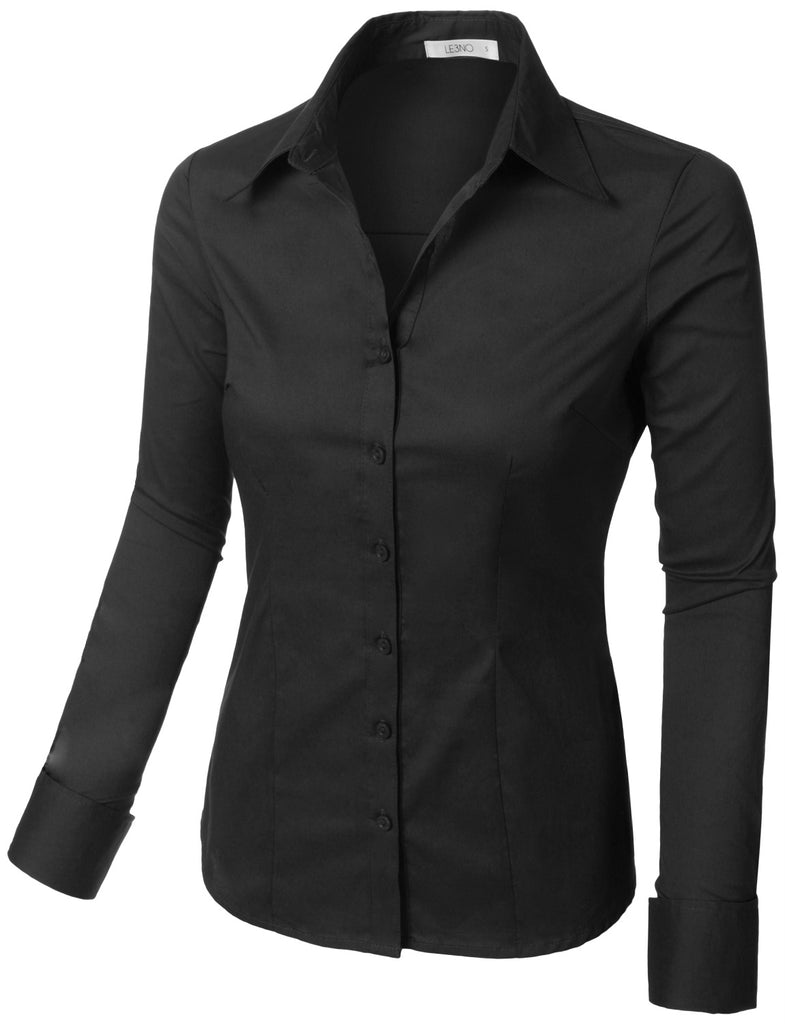 9bcb4b55457 LE3NO Womens Plus Size Classic Easy Care Long Sleeve Button Down Shirt with  Stretch