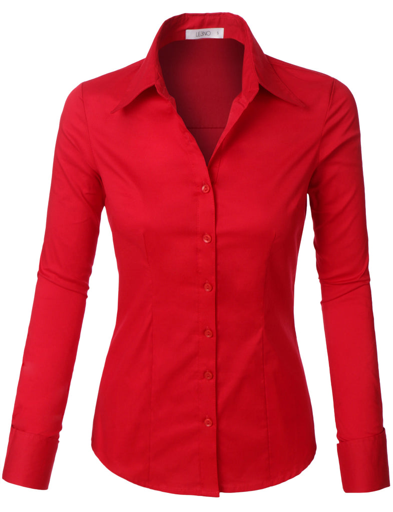 30a6ee4ea75a5 LE3NO Womens Plus Size Classic Easy Care Long Sleeve Button Down Shirt