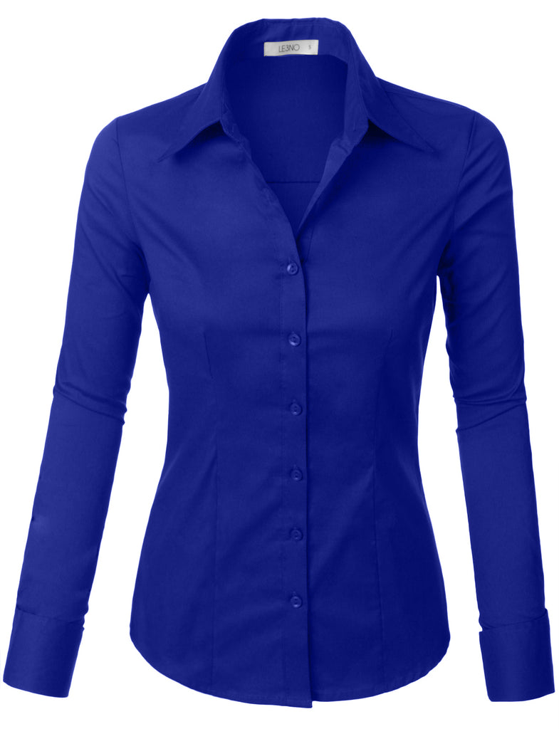 a64908d090e Plus Size Classic Easy Care Long Sleeve Button Down Shirt with Stretch