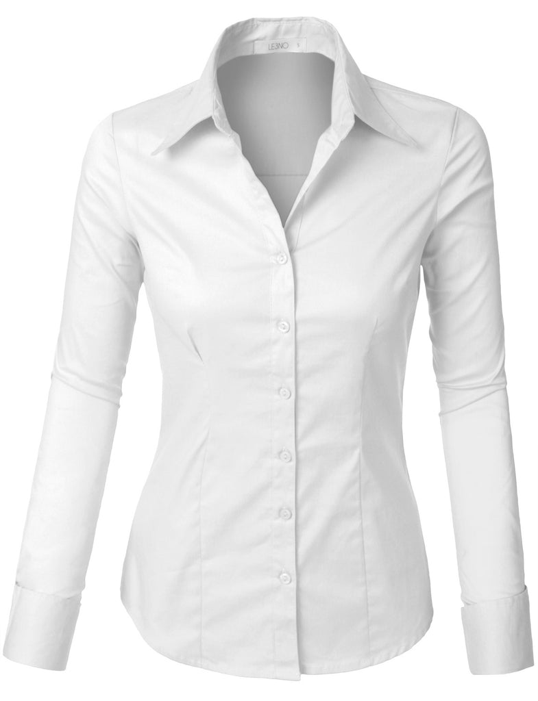 cd3935a24124c LE3NO Womens Plus Size Classic Easy Care Long Sleeve Button Down Shirt with  Stretch