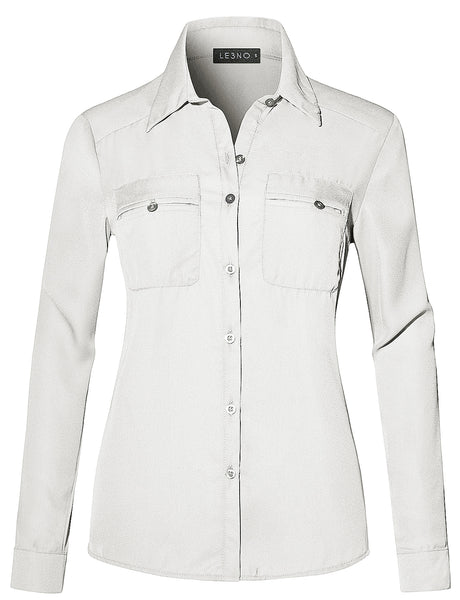 LE3NO Womens Lightweight Roll Up Long Sleeve Button Down Chiffon Shirt with Pockets