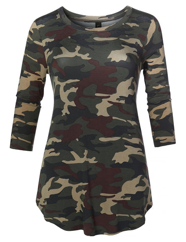 b1b03fd2792 LE3NO Womens Casual Loose Fit Round Neck 3 4 Sleeve Camouflage Print Stretch  Tunic Top