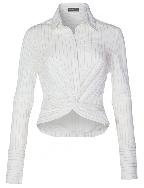 Casual Lightweight Stripe Twist Front Knot Button Down Blouse Shirt Top