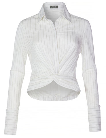 78b1c6559fb2b2 Casual Lightweight Stripe Twist Front Knot Button Down Blouse Shirt Top