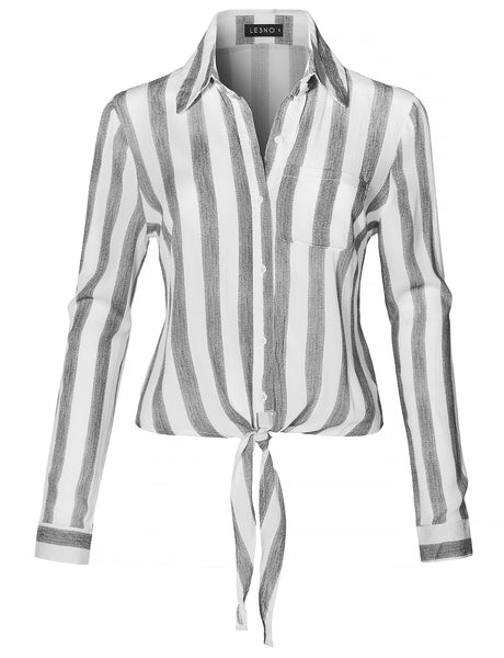 Long Sleeve Button Down Striped Crinkled Self Tie Blouse Shirt