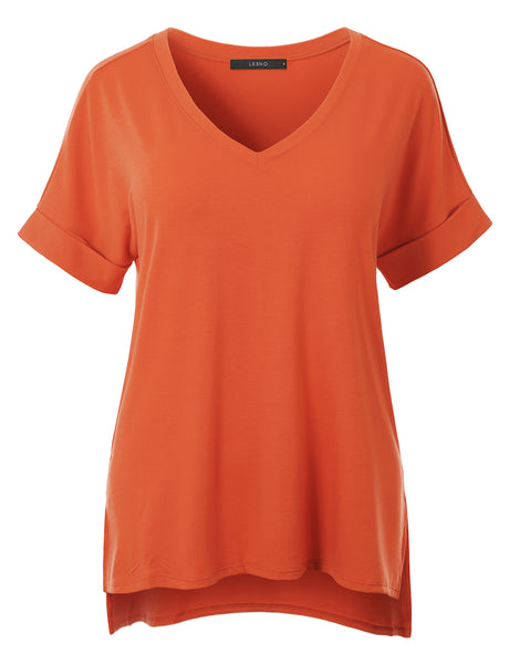 Casual Loose Fit  V-Neck Short Sleeve Stretchy Tunic Top