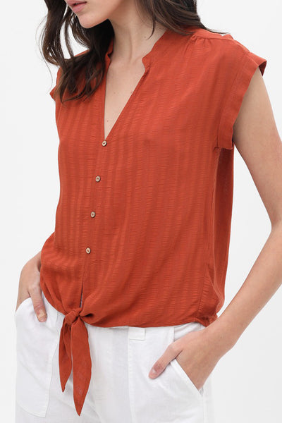 Casual Loose V Neck Cap Sleeve Shirt Top With Waist Tie