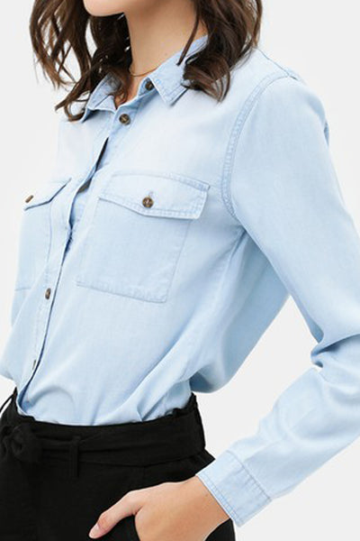 Lightweight Long Sleeve Button Down Denim Tencel Shirt