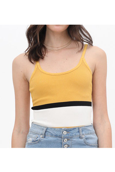 Color Block Ribbed Camisole Cropped Tank Top