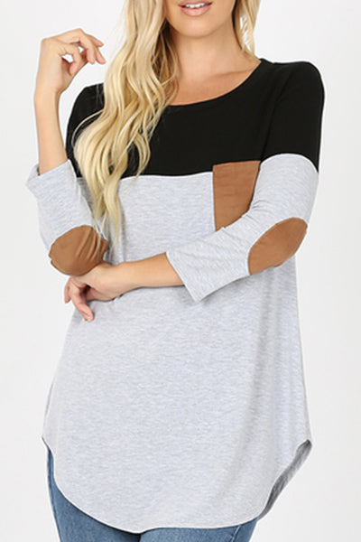 Round Neck Color Block Long Sleeve Shirt Top with Suede Elbow Patches